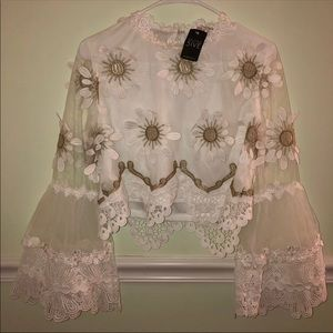 BRAND NEW white formal blouse gold flower floral